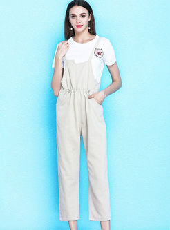 Casual Solid Color High Waist Straight Overalls