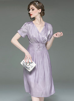 Pure Color V-neck Gathered Waist Midi Dress
