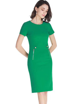 Brief Solid Color O-neck Sheath Dress