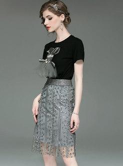 Cartoon Pattern O-neck T-shirt & Mesh Sheath Skirt