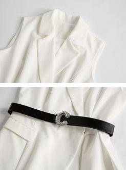 Stylish Notched Slim Vest & Mesh Big Hem Skirt