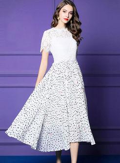 Chic Standing Collar Splicing Polka Dot Dress