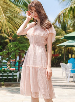 Chic Hollow Out Pure Color Lace A Line Dress