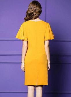 Stylish Pure Color Beaded High Waist Bodycon Dress