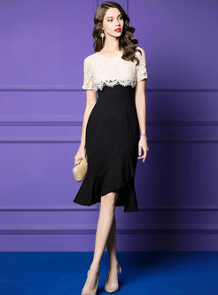 V-neck Lace Splicing Slim Mermaid Sheath Dress