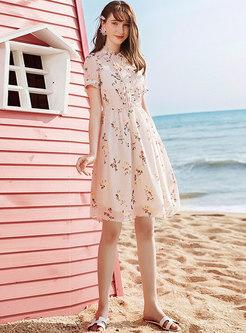 Print Stand Collar Petal SleeveA Line Dress