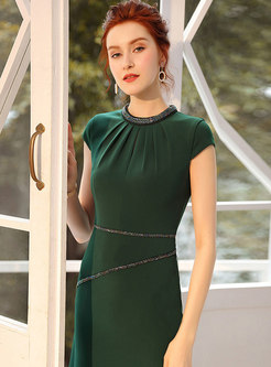 Sexy Green Beaded Belted Slim Bodycon Dress