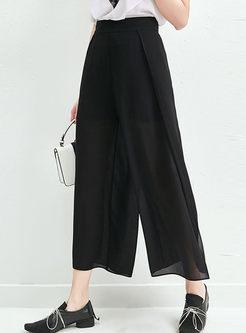 Brief Solid Color Loose Wide Leg Pants
