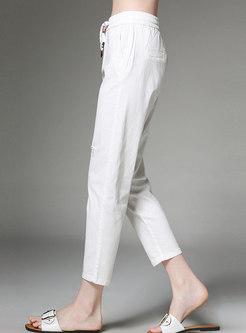 Pure Color Elastic Waist Holes Straight Pants