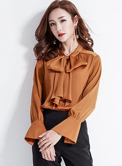 Work Bowknot Tied Flare Sleeve Blouse
