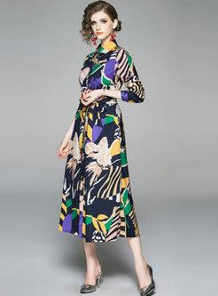 Elegant Print Lapel Belted Slim Maxi Dress
