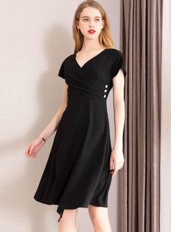Stylish Solid Color V-neck Big Hem Dress
