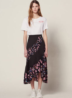 Retro High Waist Falbala Asymmetric Skirt