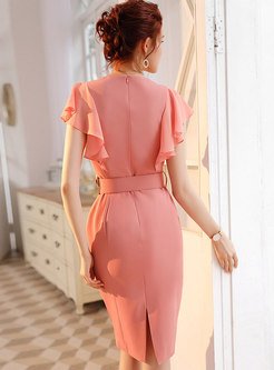 Solid Color Falbala High Waist Bodycon Dress