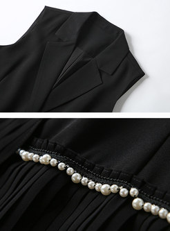 Bead Splicing Pleated Chiffon Sleeveless Sheath Dress