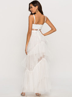 White Mesh Backless Splicing Holiday Beach Maxi Dress