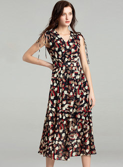 Floral Print V-neck Tied Sleeveless Maxi Dress