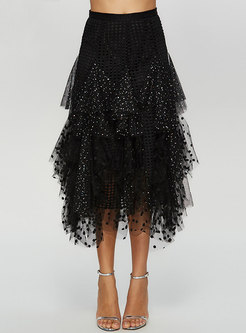 Chic Asymmetric Sequined Mesh Splicing Skirt