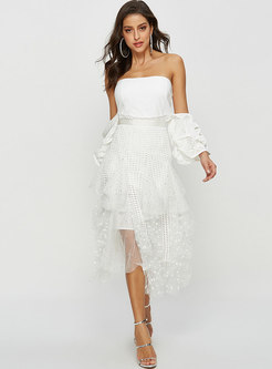 High Waisted Asymmetric Mesh Openwork Skirt