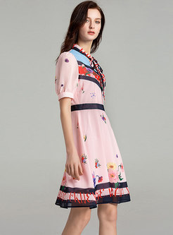 Sweet Color-blocked Print Bowknot A Line Dress