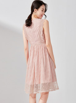 Lace O-neck Sleeveless High Waist Skater Dress
