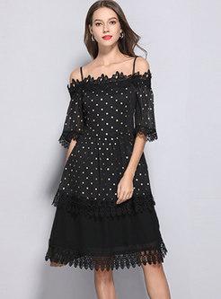 Lace Splicing Polka Dot Slash Neck Skater Dress