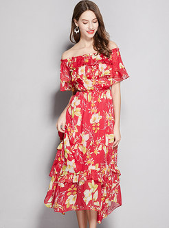 Off Shoulder Print Ruffle A Line Midi Dress