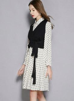 Polka Dot Lapel Skater Dress & Belted V-neck Vest