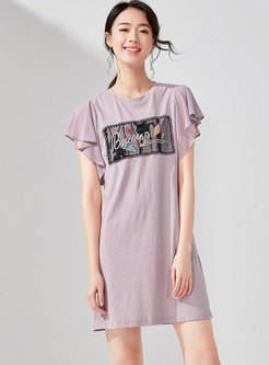 Casual Embroidered O-neck Loose T-shirt Dress