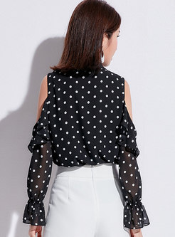 Casual Black Off Shoulder Polka Dot Loose Blouse