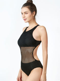Brief Solid Color Hollow Out Swimwear