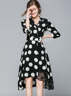 Polka Dot Lapel Slim Asymmetric Skater Dress