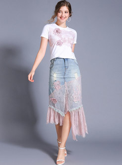 Brief Flower T-shirt & Lace Splicing Denim Irregular Skirt