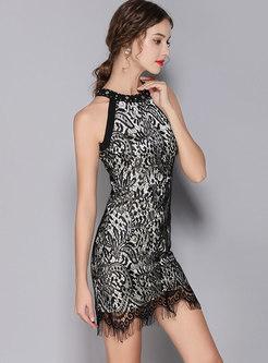Lace Sleeveless Fringed Bodycon Dress