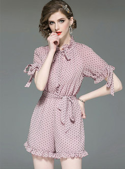 Polka Dot Ruffled Collar Belted Rompers
