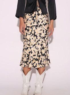 Vintage Multi Print High Waist Sheath Skirt