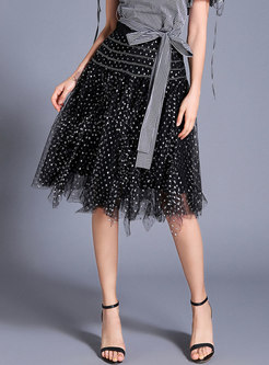 Sweet Mesh Polka Dot Black Ball Gown Skirt