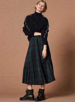 Vintage Color-blocked Stripe Pleated Skirt