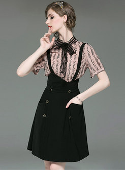 Print Stand Collar Top & Suspender Dress