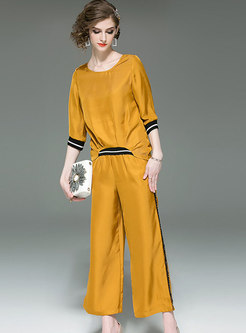 Color-blocked Asymmetric Top & Elastic Waist Straight Pants