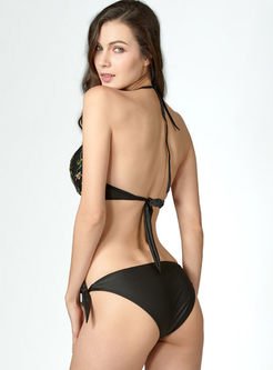Sexy Halter Print Hollow Out Bikini