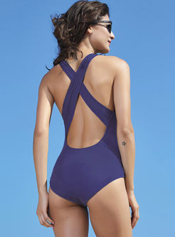 Fashion Backless Solid Color One Piece Swimwear
