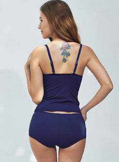 Stylish Color-blocked Gathered Tankini