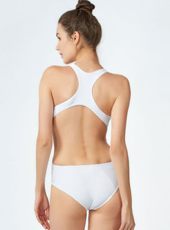 Chic O-neck Hollow Out One Piece Swimwear