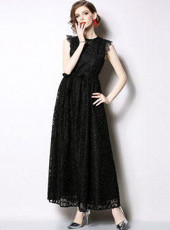 Elegant Lace Sleeveless Belted Slim Maxi Dress