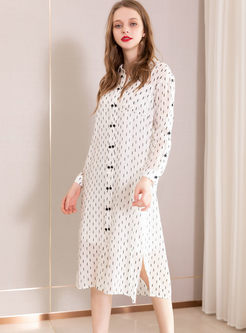 Casual Lapel Single-breasted Slit Shirt Dress With Cami