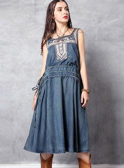 Fashion Square Neck Sleeveless Waist Dress