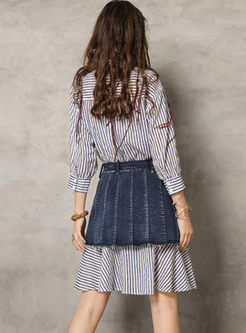 Casual Lapel Long Sleeve Striped Dress With Skirt
