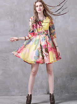 Retro Elegant Print Square Neck Skater Dress