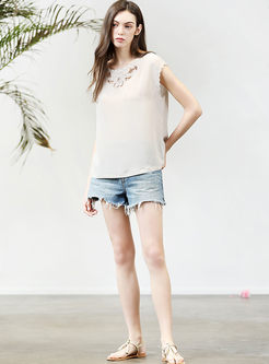 Brief Casual O-neck Hollow Out Silk T-shirt